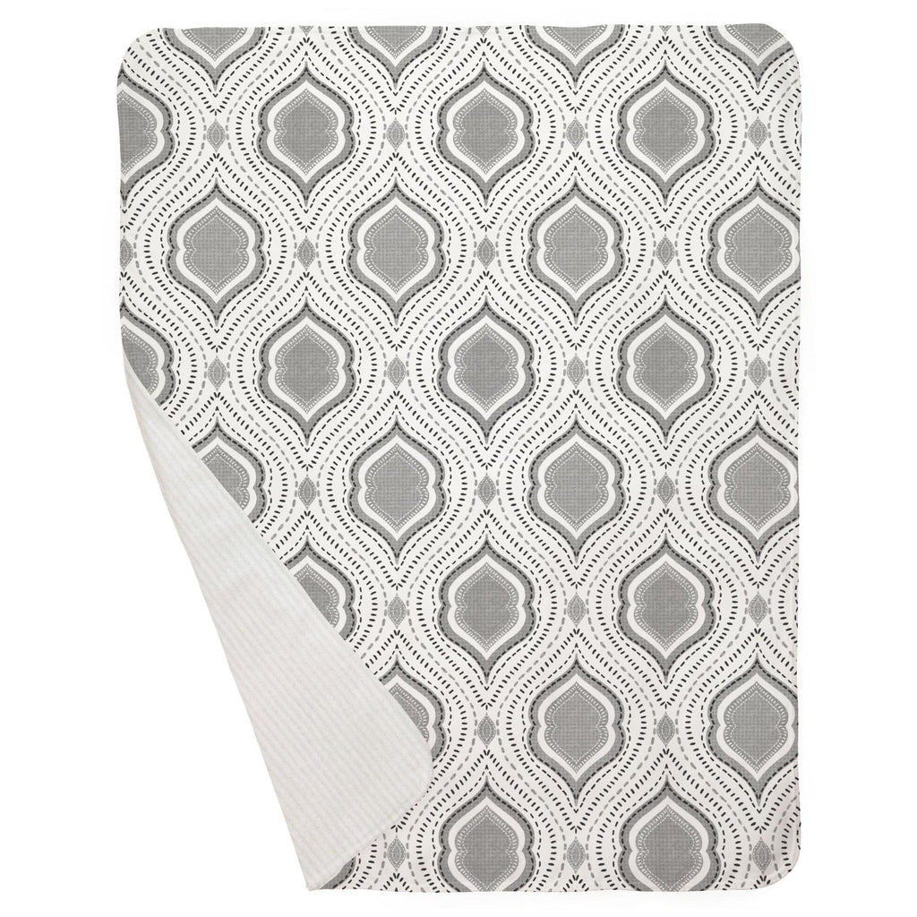 Product image for Gray Moroccan Damask Baby Blanket