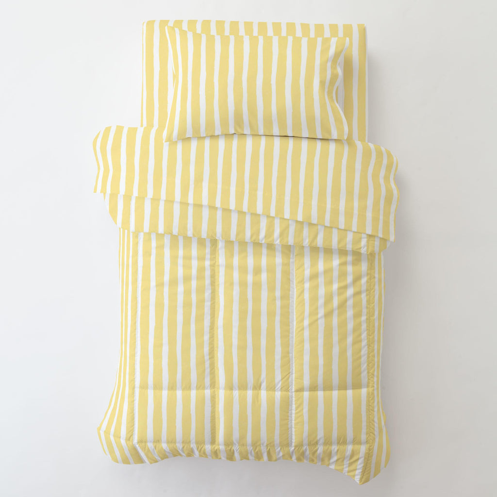 Product image for Banana Yellow Weathered Stripe Toddler Sheet Bottom Fitted