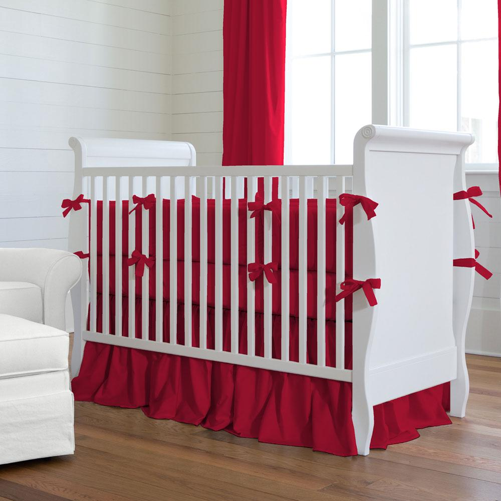Product image for Solid Red Crib Comforter with Piping
