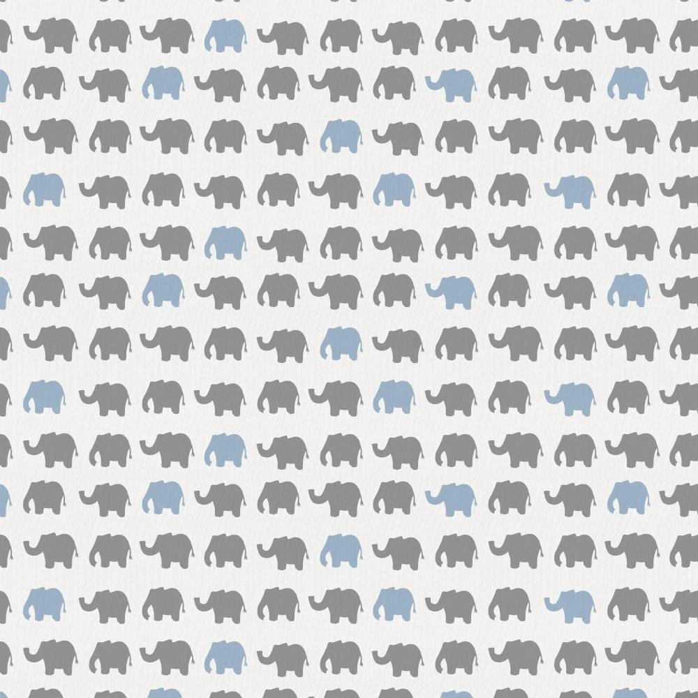 Product image for Gray and Blue Elephant Parade Crib Skirt Single-Pleat