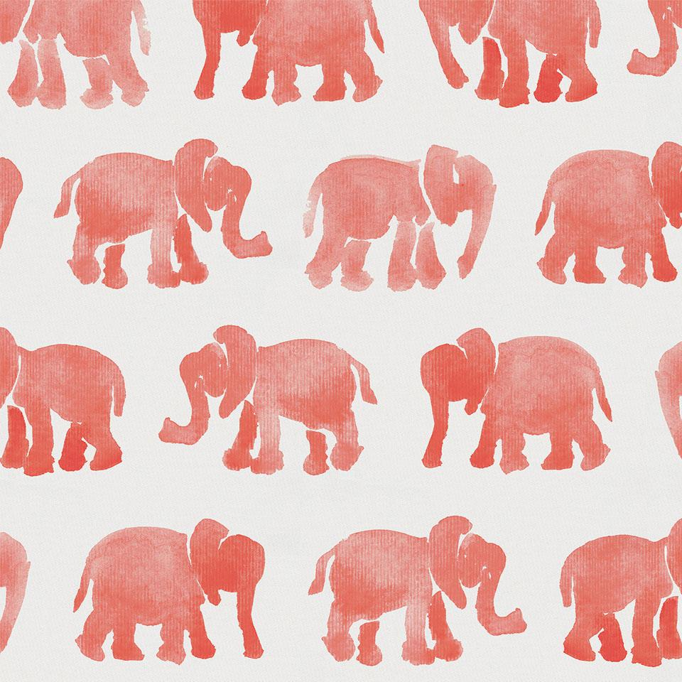 Product image for Coral Watercolor Elephants Crib Skirt Gathered