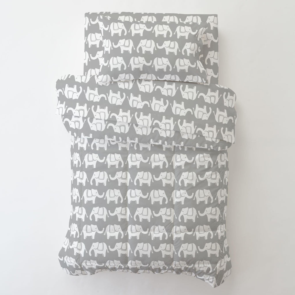 Product image for Gray and White Marching Elephants Toddler Pillow Case