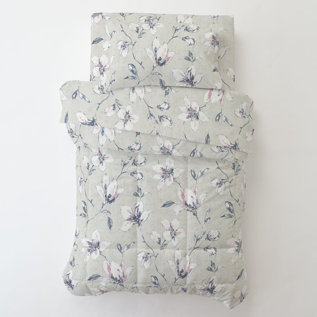 Product image for Pink and Blue Painted Lilies Toddler Sheet Bottom Fitted