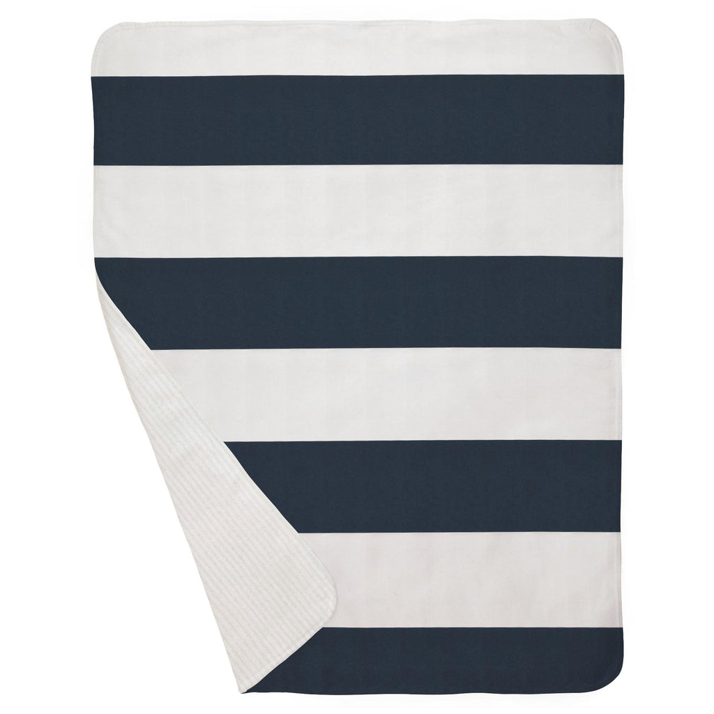 Product image for Navy Horizontal Stripe Baby Blanket