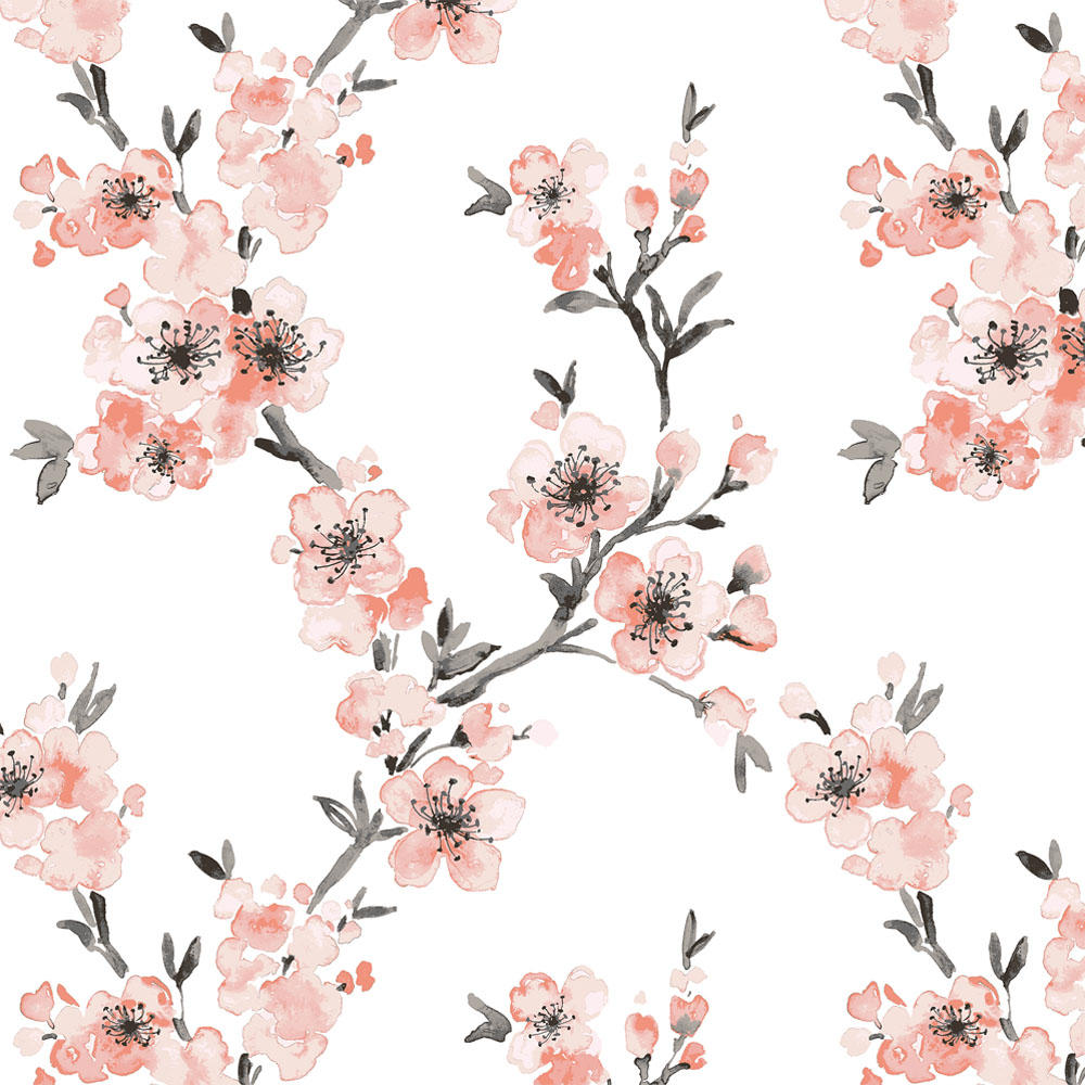 Product image for Light Coral Cherry Blossom Fabric