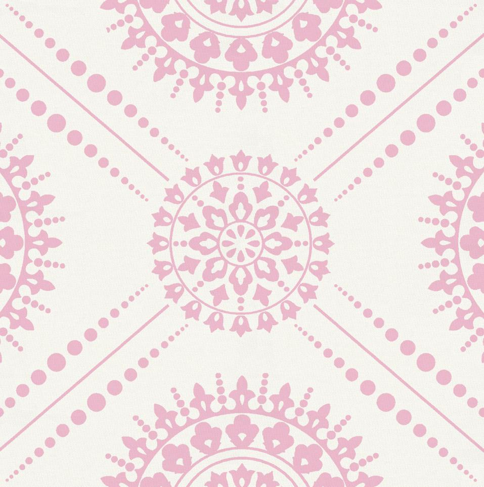 Product image for Bubblegum Pink Modern Medallion Crib Skirt Gathered