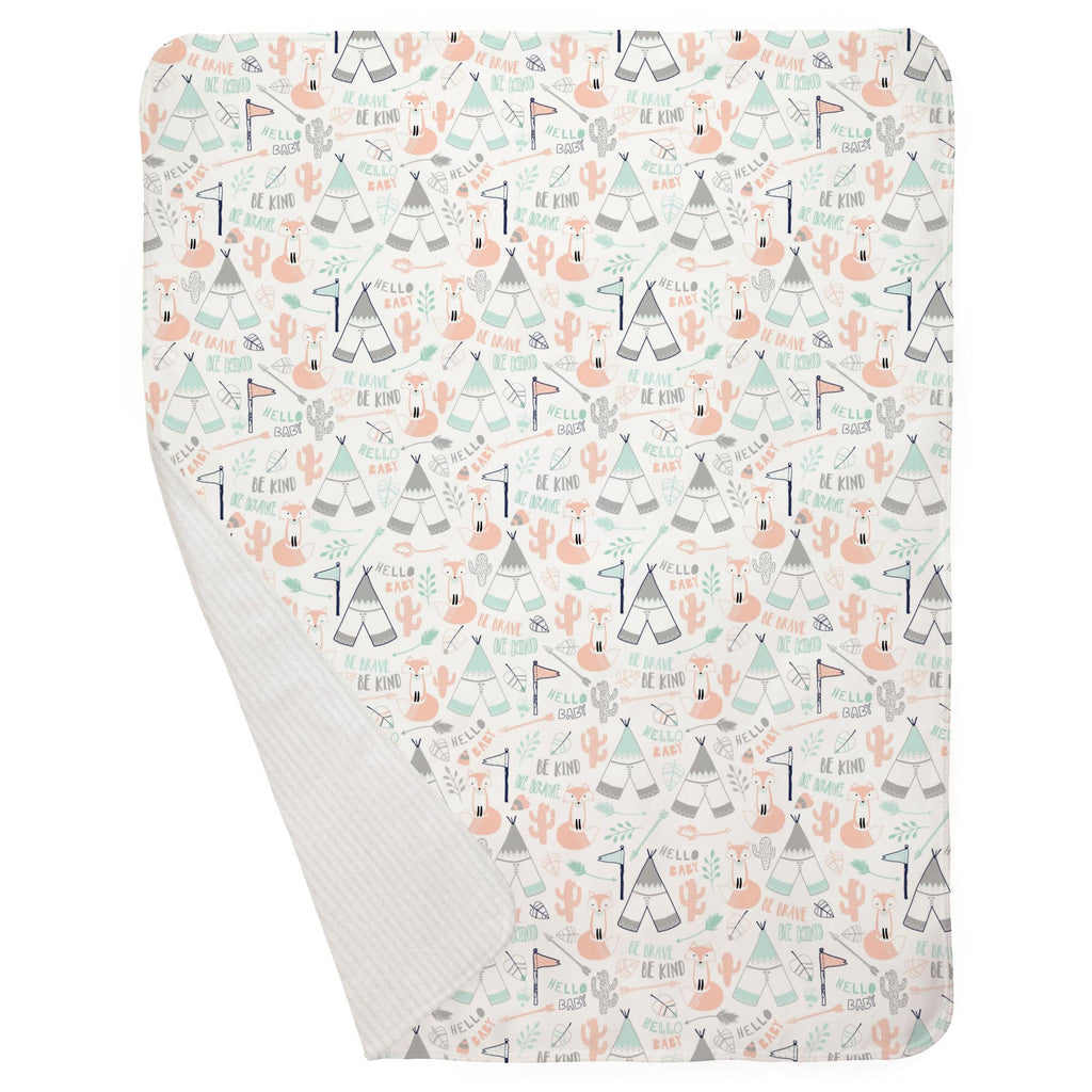 Product image for Peach Brave Fox Baby Blanket