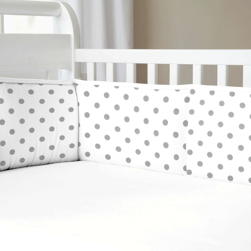 Product image for Gray and White Polka Dot Crib Bumper
