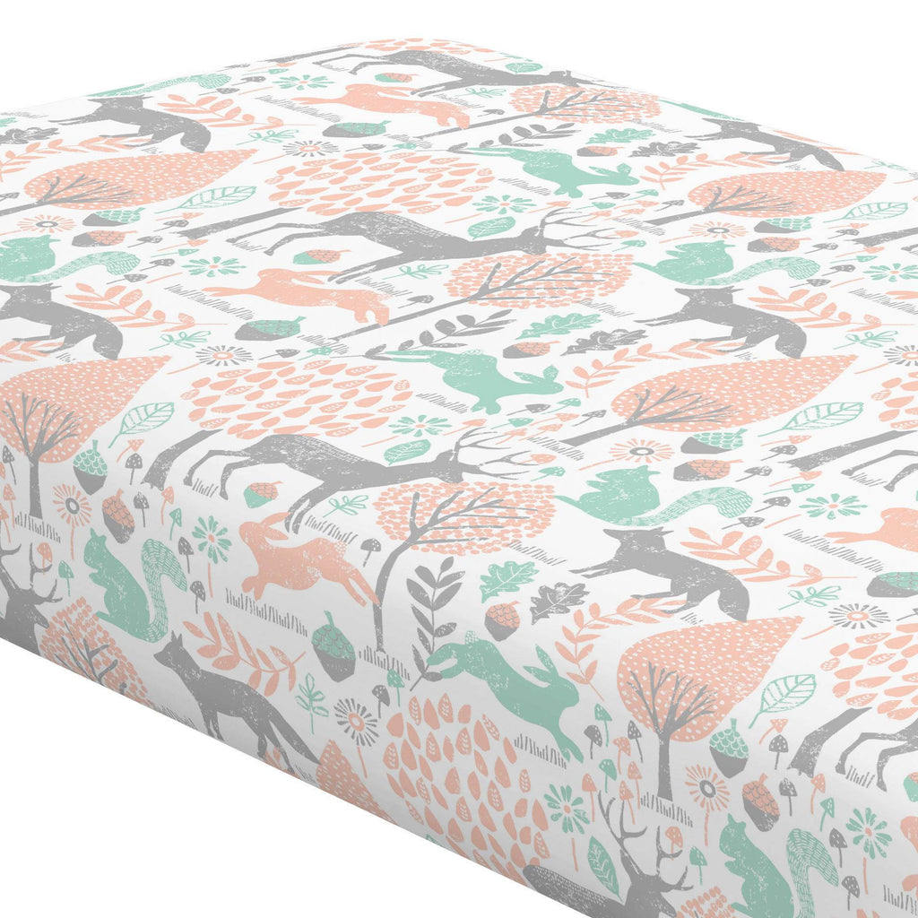 Product image for Gray and Peach Woodland Animals Crib Sheet