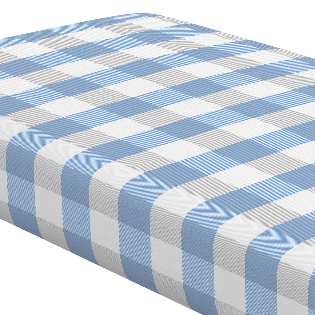 Product image for Blue and Silver Gray Buffalo Check Crib Sheet
