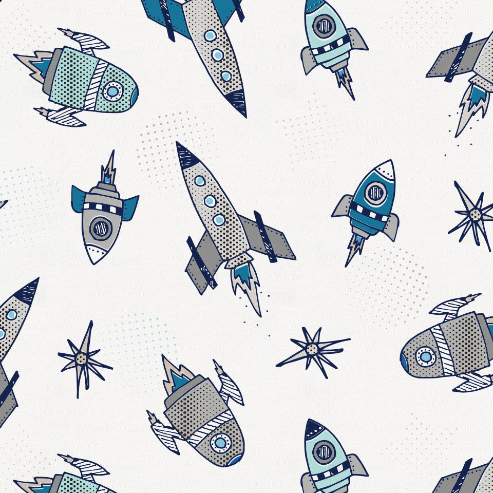 Product image for Navy Retro Rockets Crib Skirt Gathered