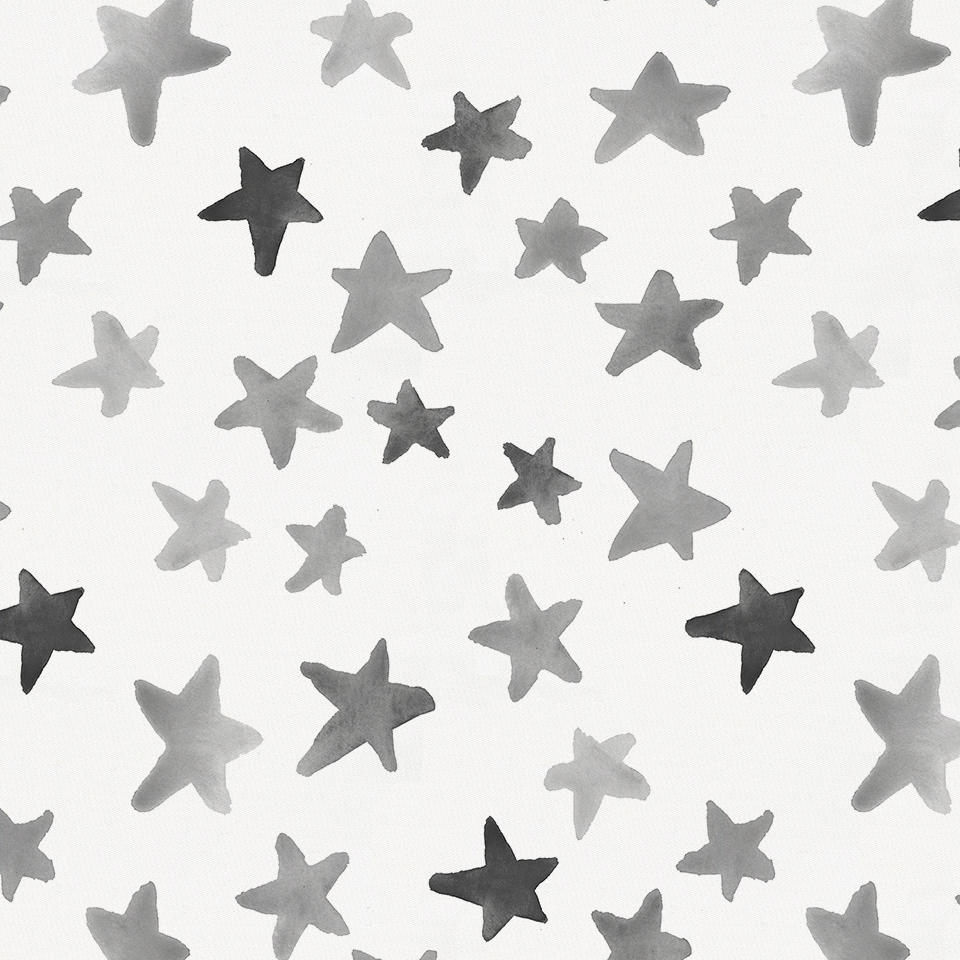 Product image for Gray Watercolor Stars Crib Skirt Gathered