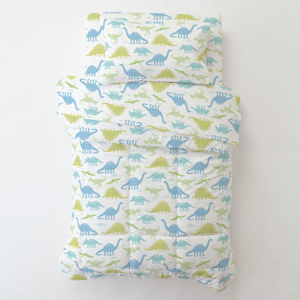 Product image for Seafoam Aqua and Pastel Green Dinosaurs Toddler Pillow Case
