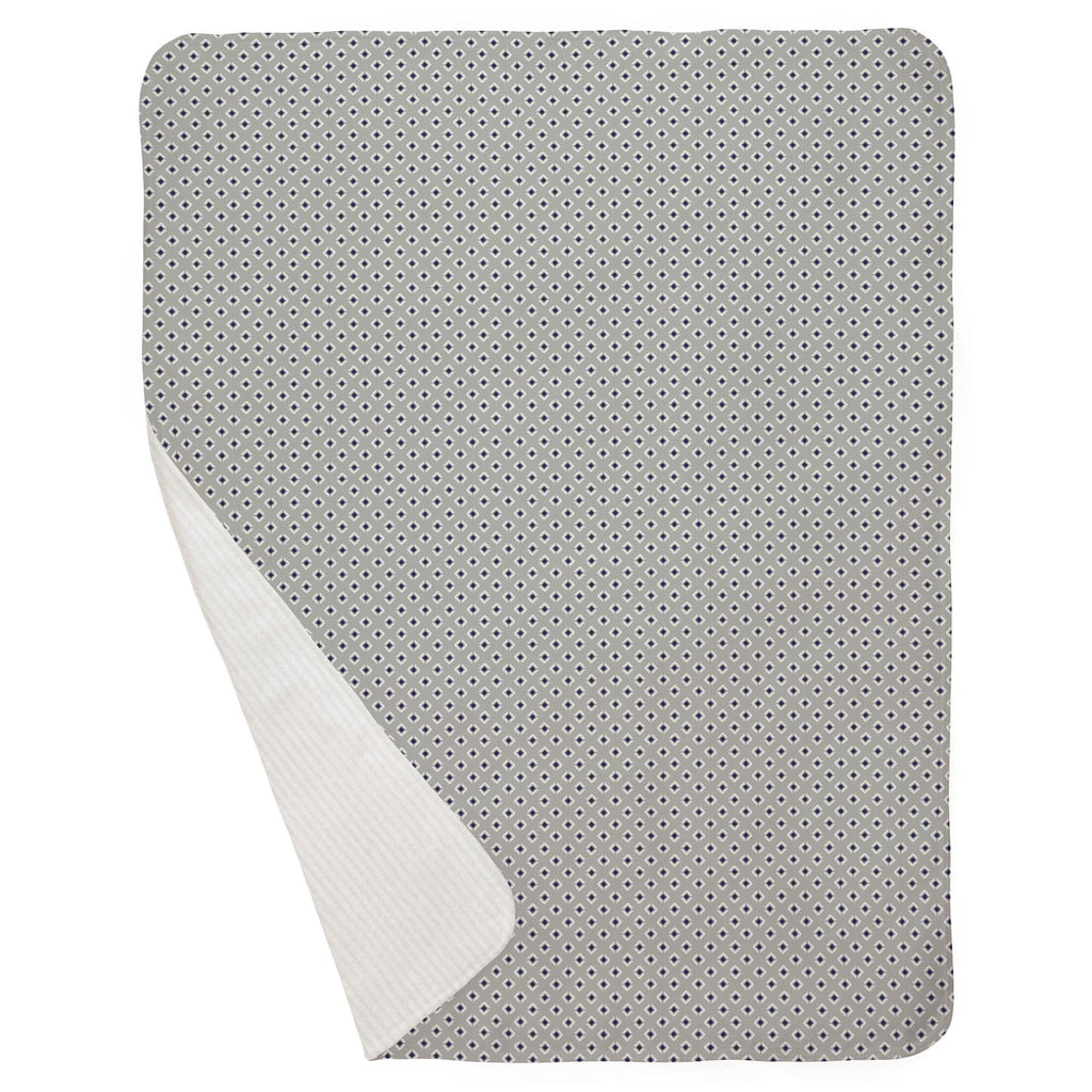 Product image for Silver Gray and Navy Diamond Baby Blanket