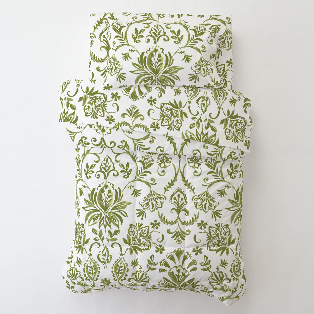Product image for Sage Coastal Damask Toddler Sheet Bottom Fitted