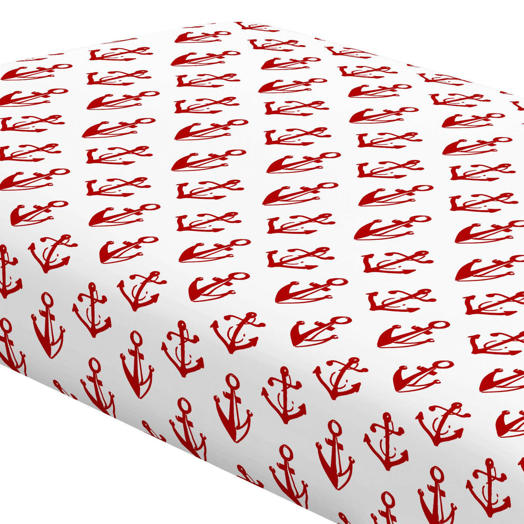 Product image for Red Anchors Crib Sheet