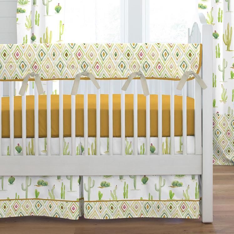 Product image for Watercolor Cactus Crib Skirt Single-Pleat with Trim