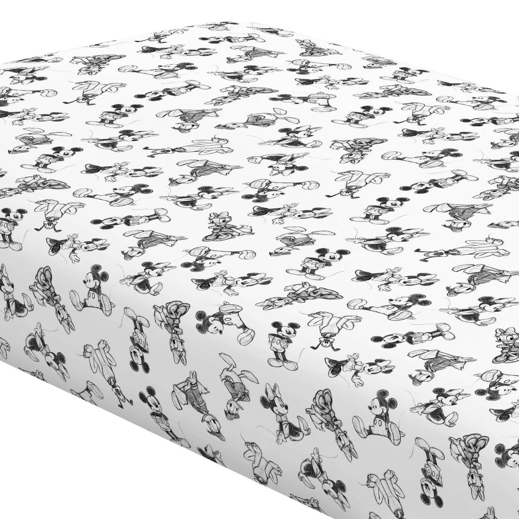 Product image for Disney© Charcoal Mickey and Friends Crib Sheet