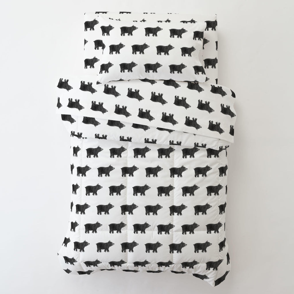 Product image for Gray Painted Bear Toddler Pillow Case