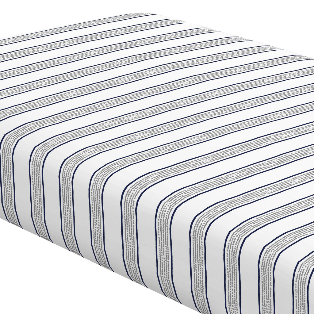 Product image for Navy and Gray Beach Stripe Crib Sheet