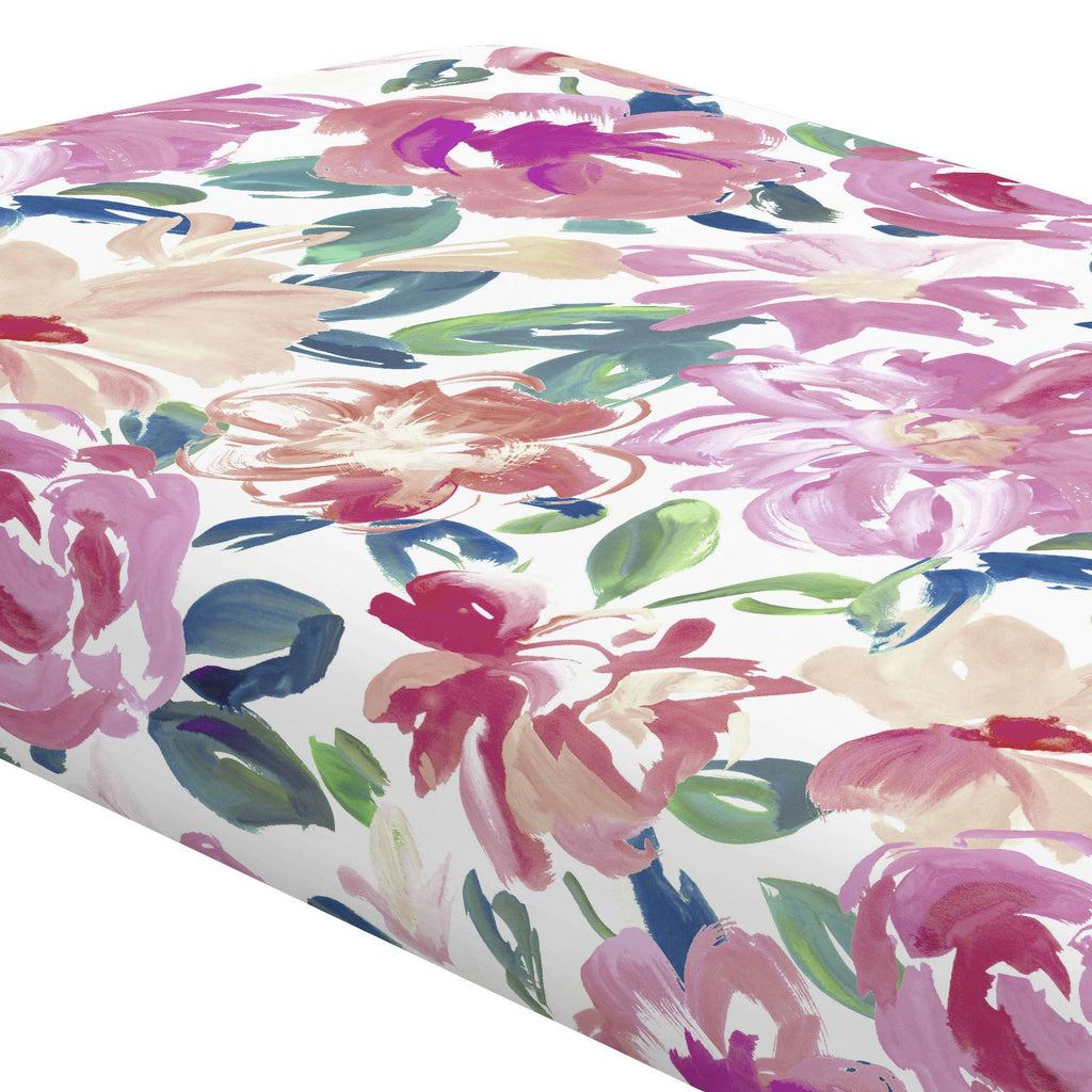 Product image for Pink Brushstroke Floral Crib Sheet