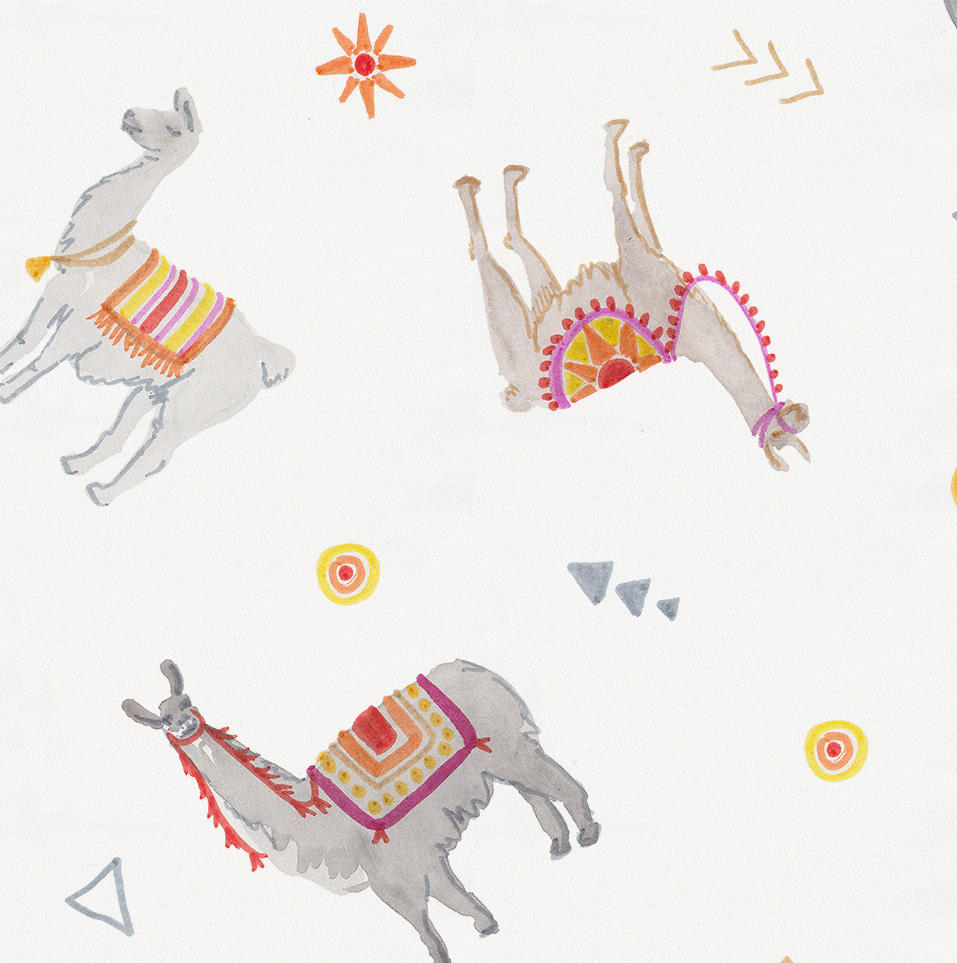 Product image for Festive Llamas Crib Skirt Gathered