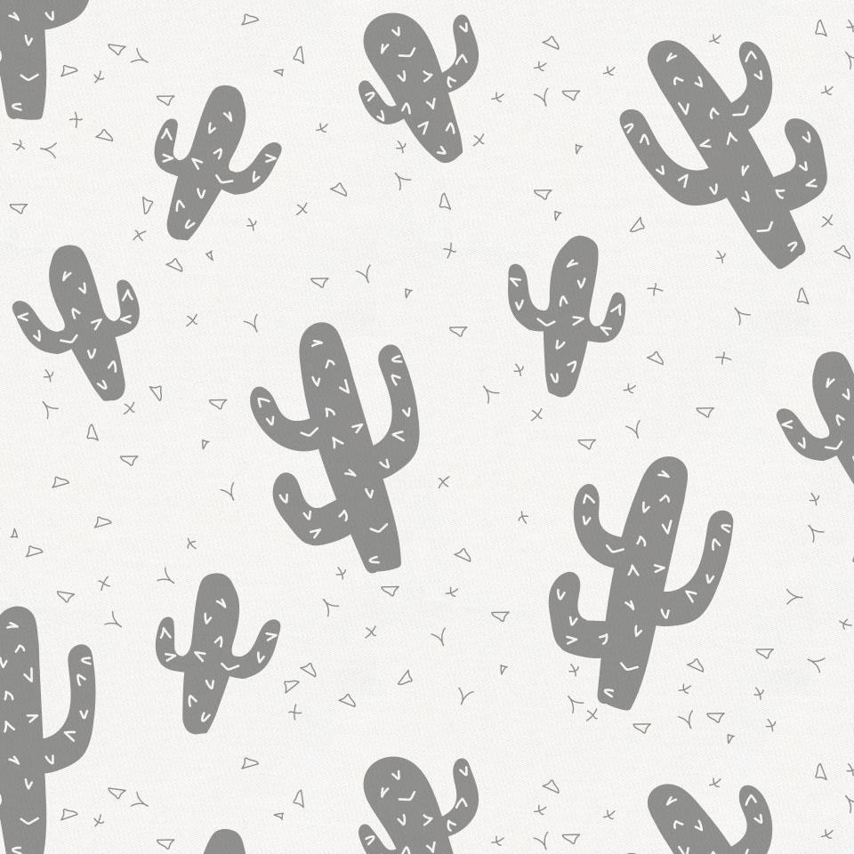 Product image for Cloud Gray Cactus Crib Skirt Gathered