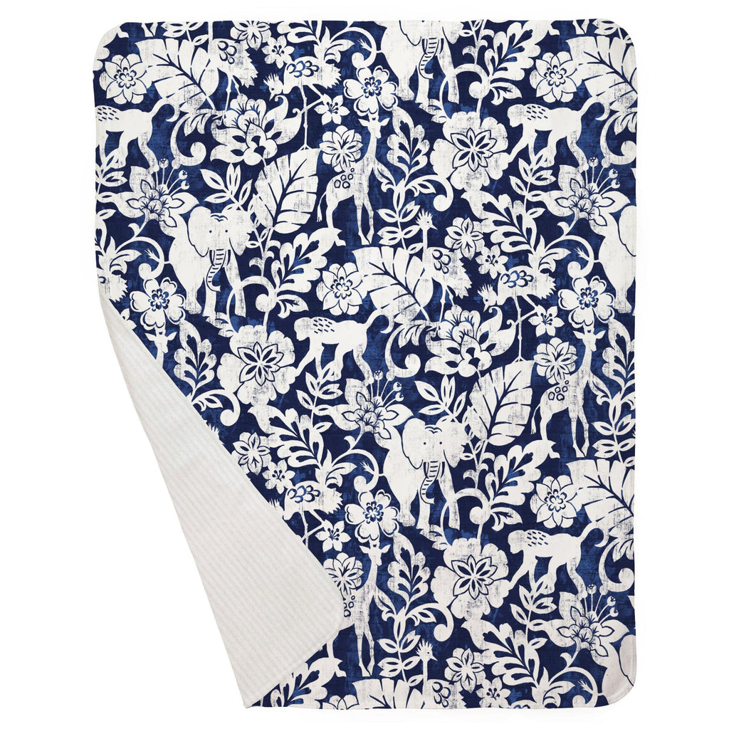 Product image for Navy and White Jungle Baby Blanket