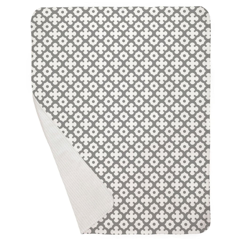 Product image for Cloud Gray Moroccan Tile Baby Blanket