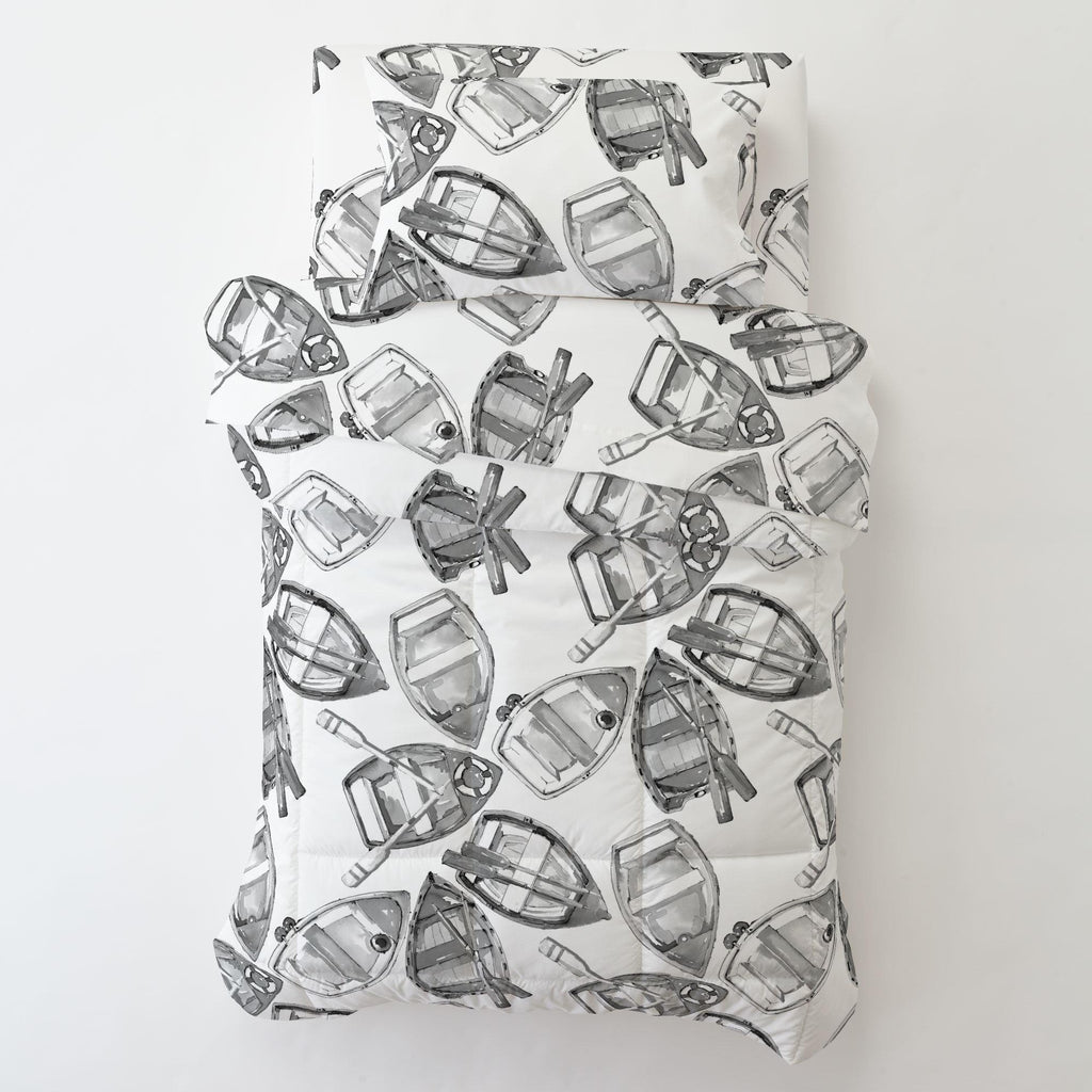 Product image for Gray Watercolor Boats Toddler Sheet Bottom Fitted