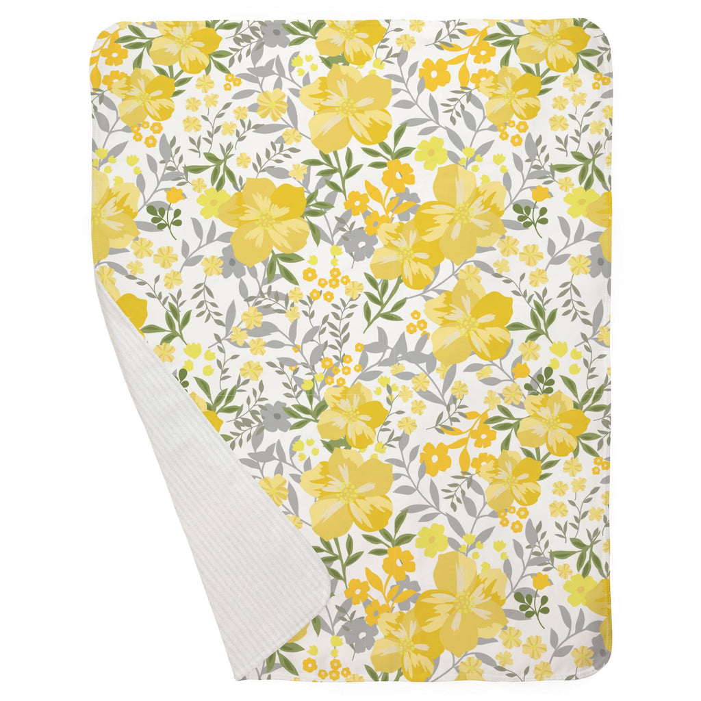 Product image for Yellow Floral Tropic Baby Blanket