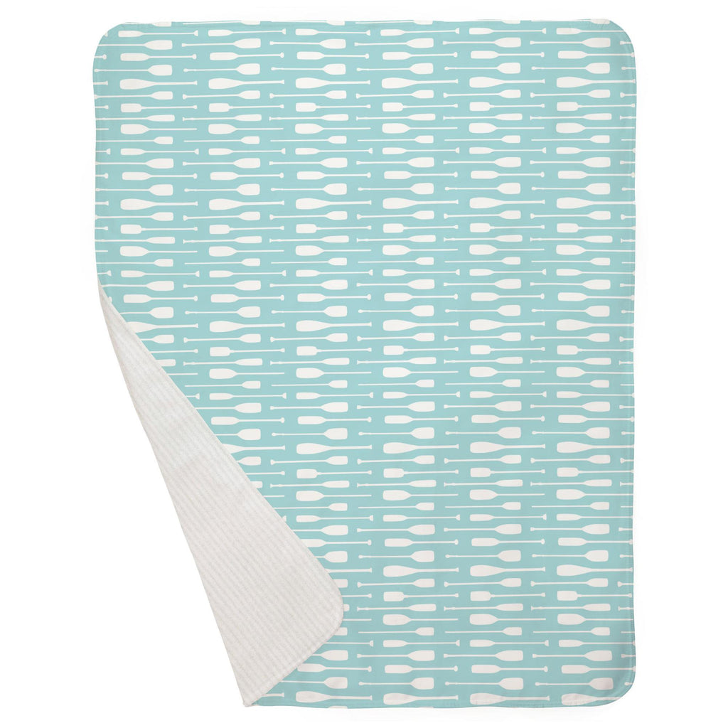 Product image for Seafoam Aqua and White Oars Baby Blanket