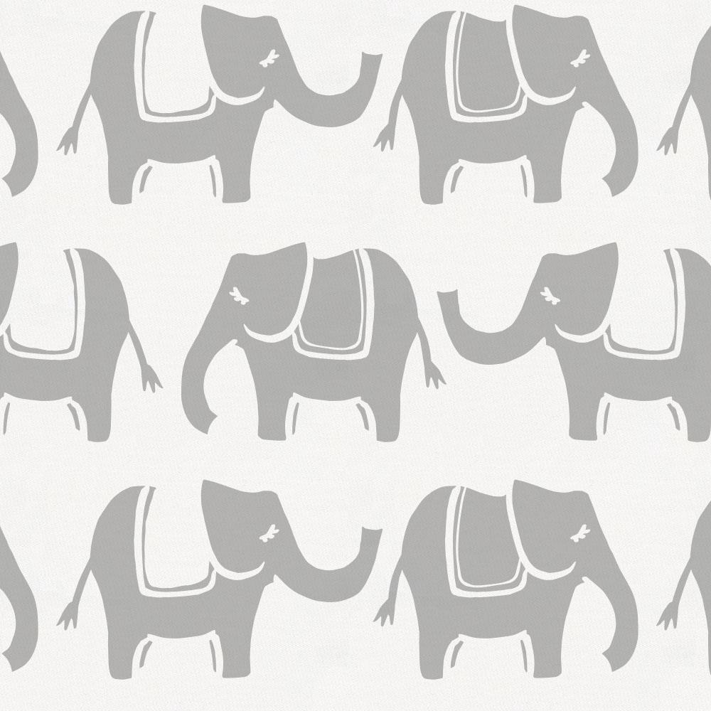Product image for Silver Gray Marching Elephants Crib Skirt Single-Pleat