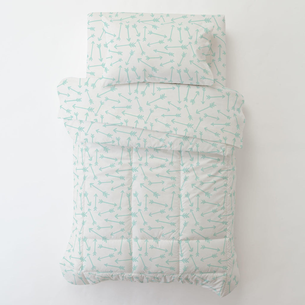 Product image for Icy Mint Whimsical Arrows Toddler Sheet Bottom Fitted