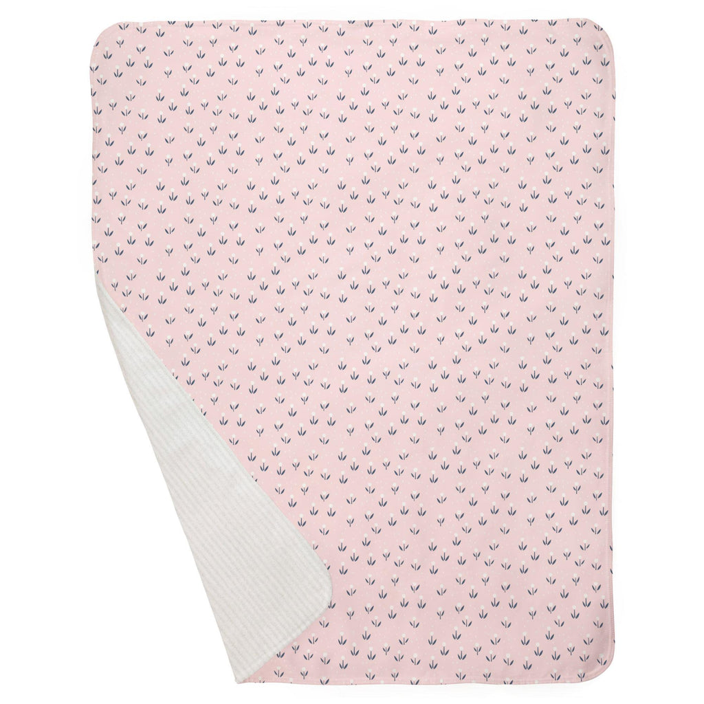 Product image for Pink Baby Woodland Flowers Baby Blanket
