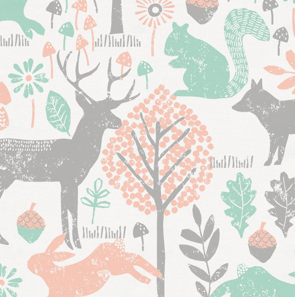 Product image for Gray and Peach Woodland Animals Crib Skirt Gathered