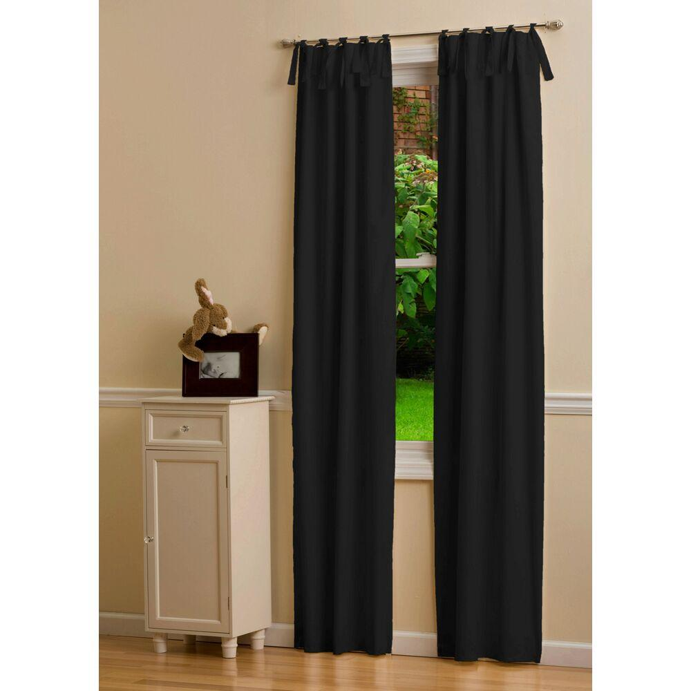Product image for Solid Black Drape Panel with Ties