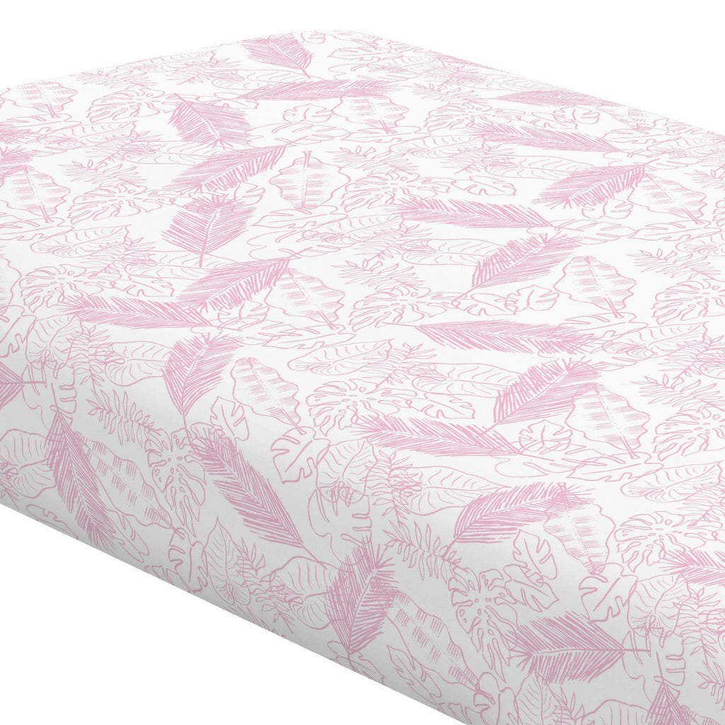 Product image for Bubblegum Palm Leaves Crib Sheet