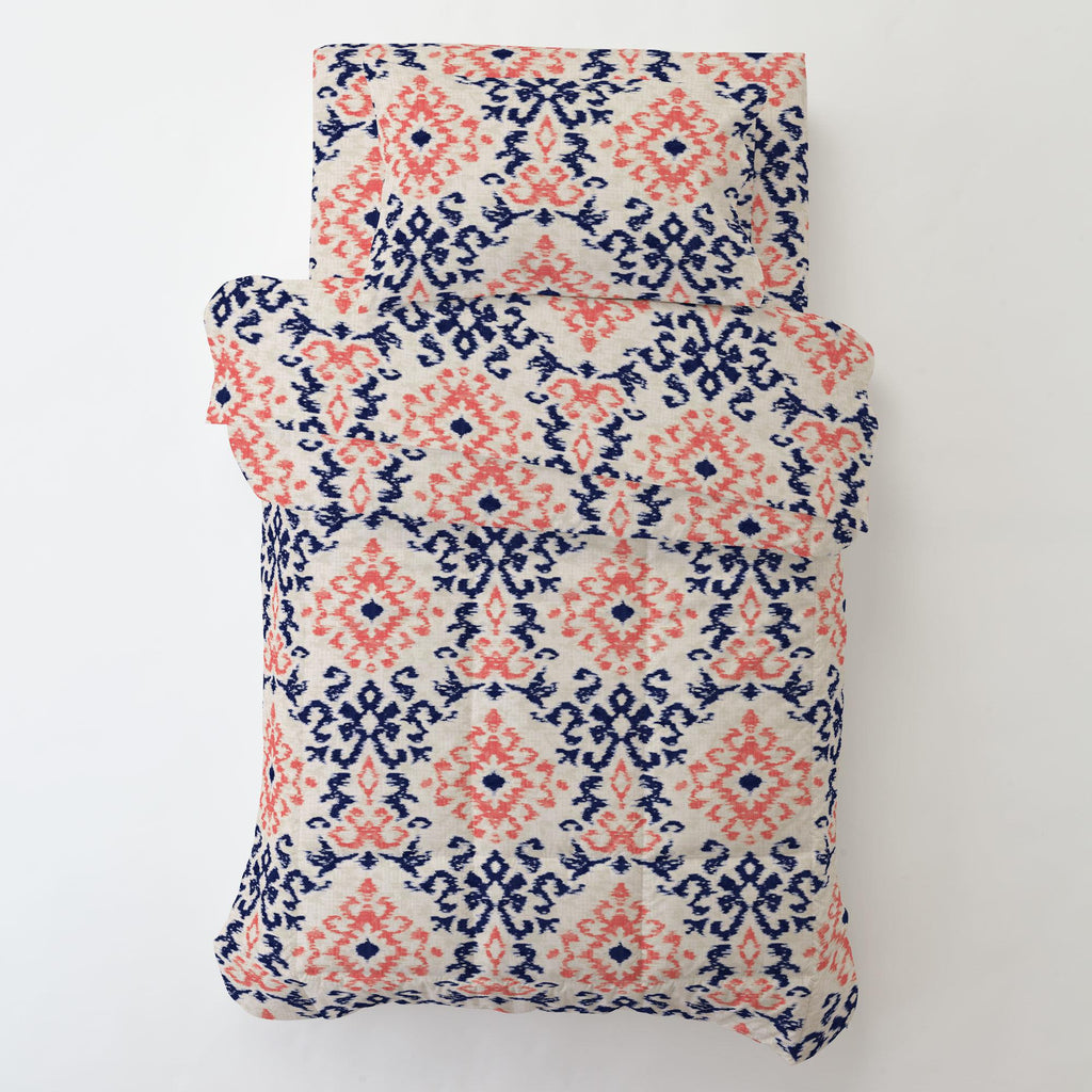 Product image for Navy and Coral Ikat Damask Toddler Pillow Case