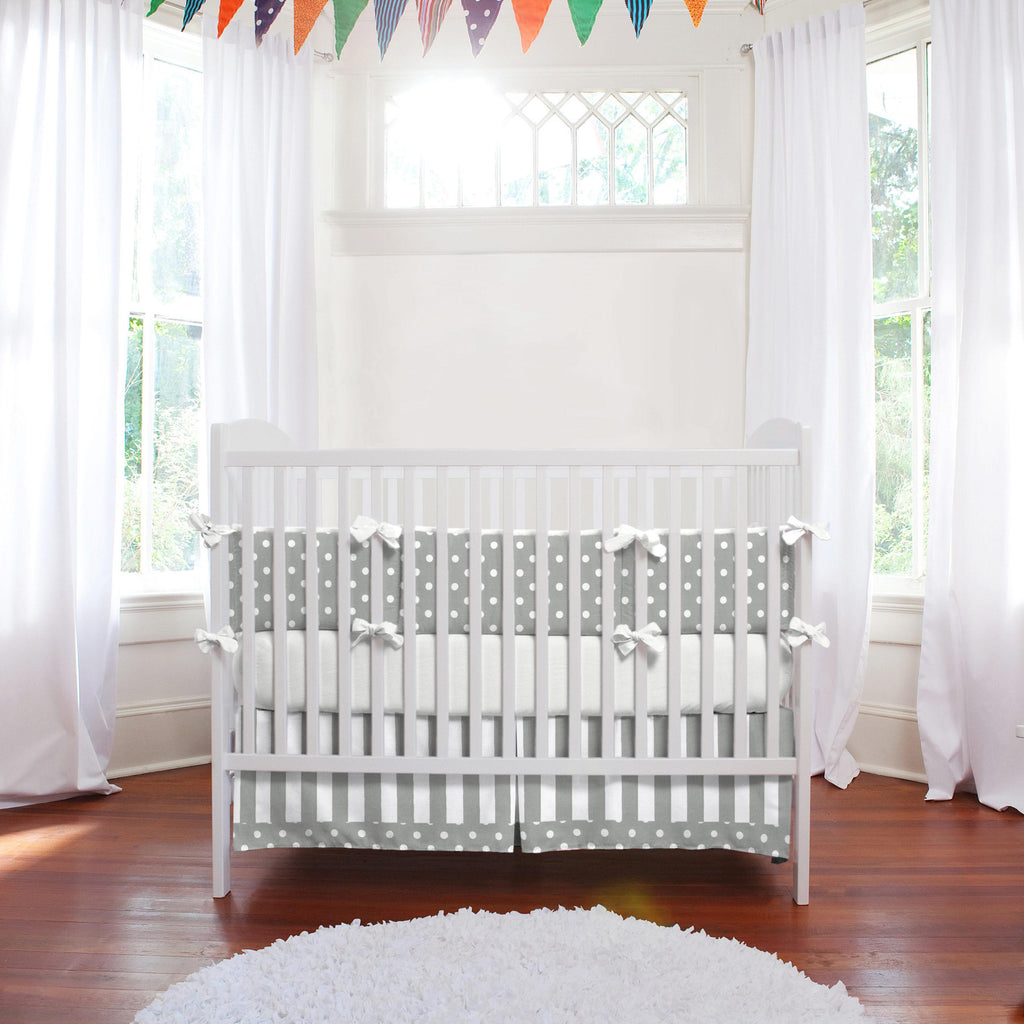 Product image for White and Gray Stripe Crib Skirt with Trim