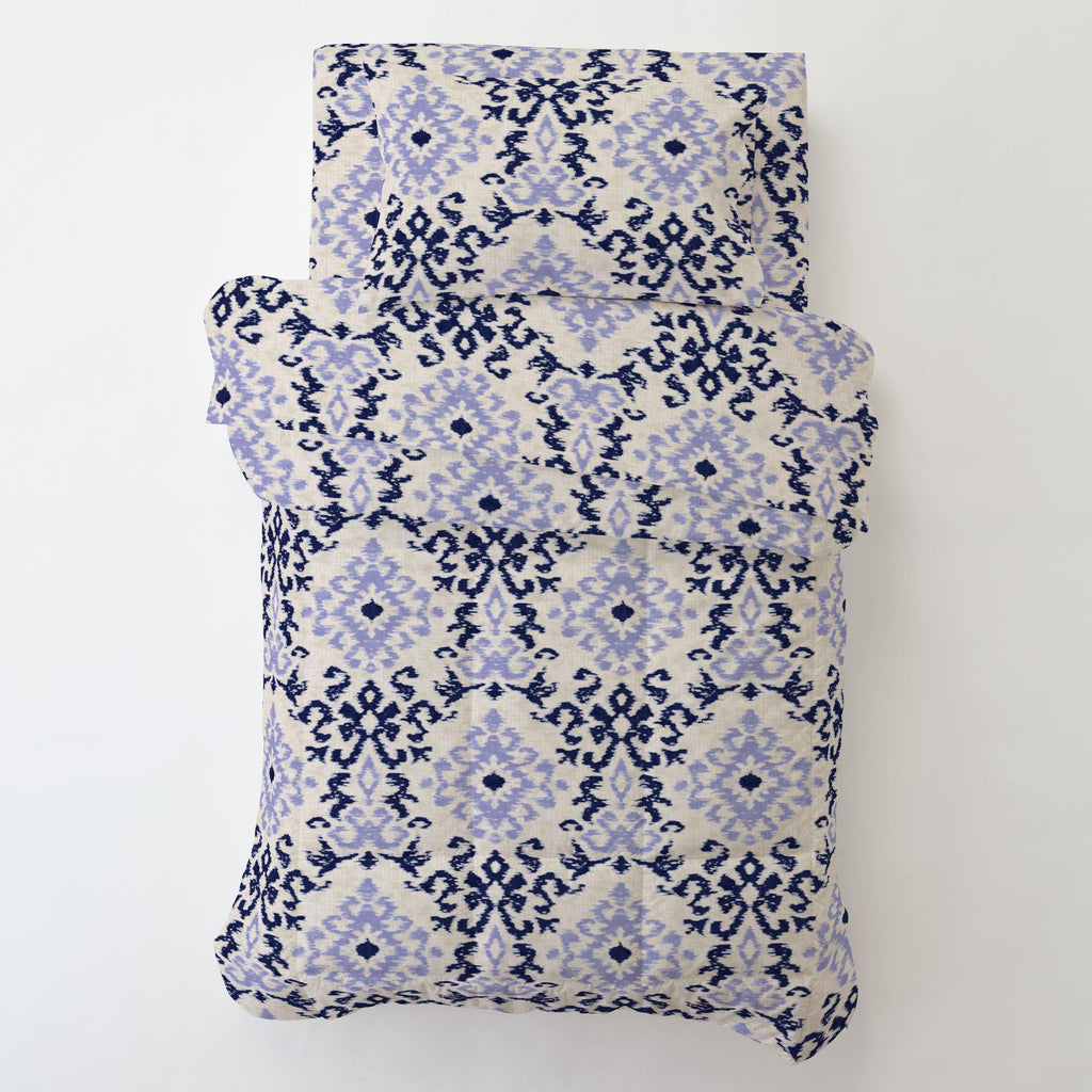 Product image for Navy and Lavender Ikat Damask Toddler Sheet Bottom Fitted