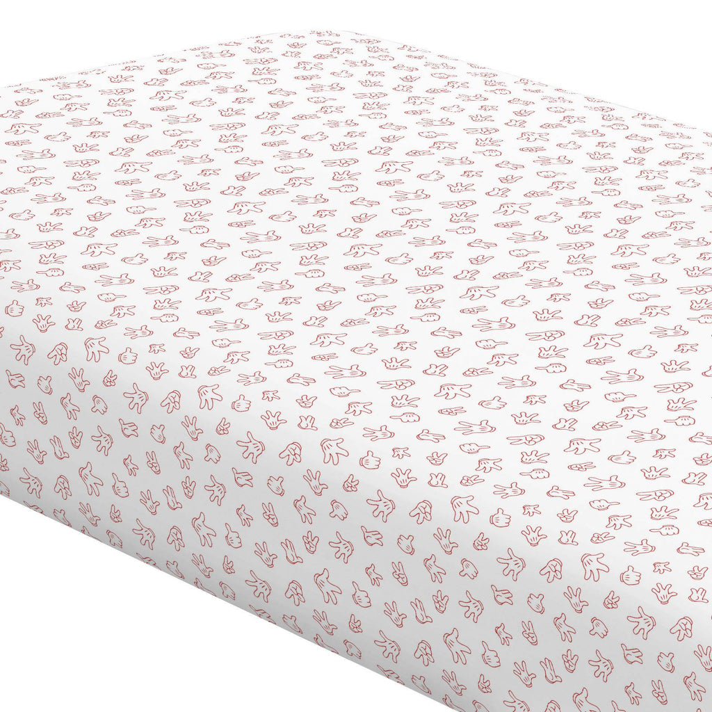 Product image for Disney© Red Mickey Gloves Crib Sheet