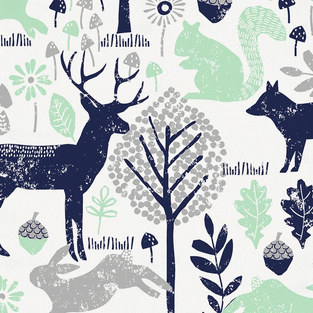 Product image for Navy and Mint Woodland Animals Mini Crib Sheet