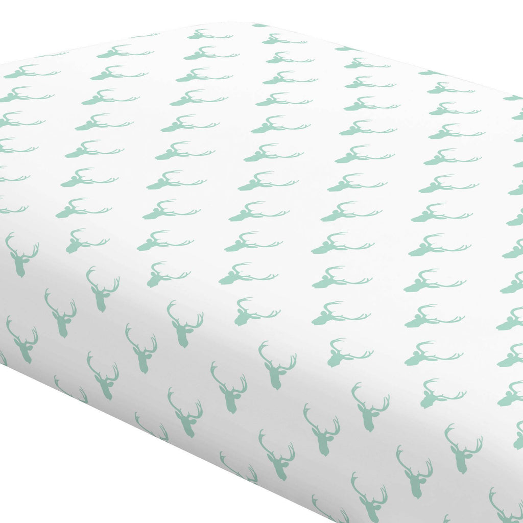 Product image for Mint Deer Silhouette Crib Sheet