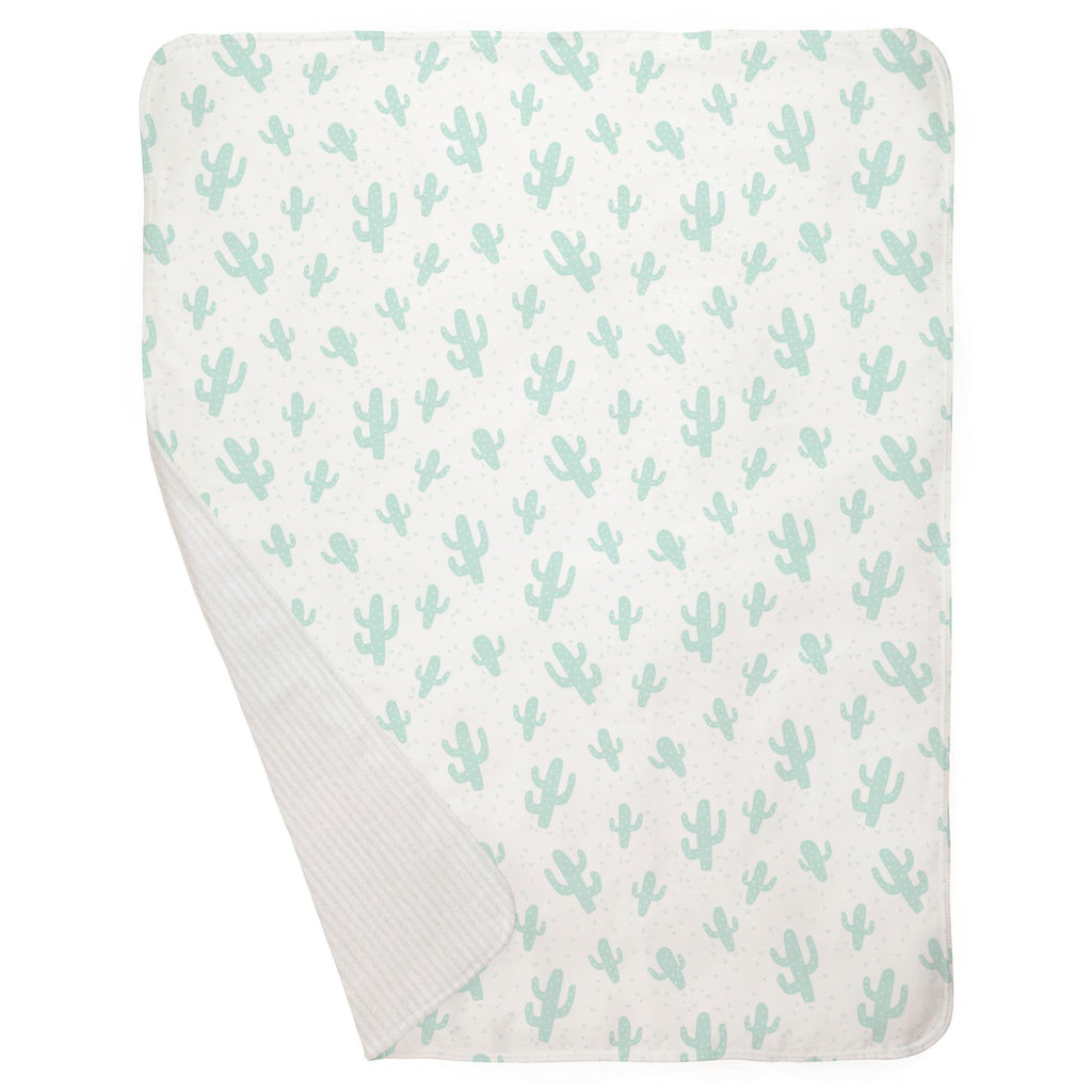 Product image for Icy Mint Cactus Baby Blanket