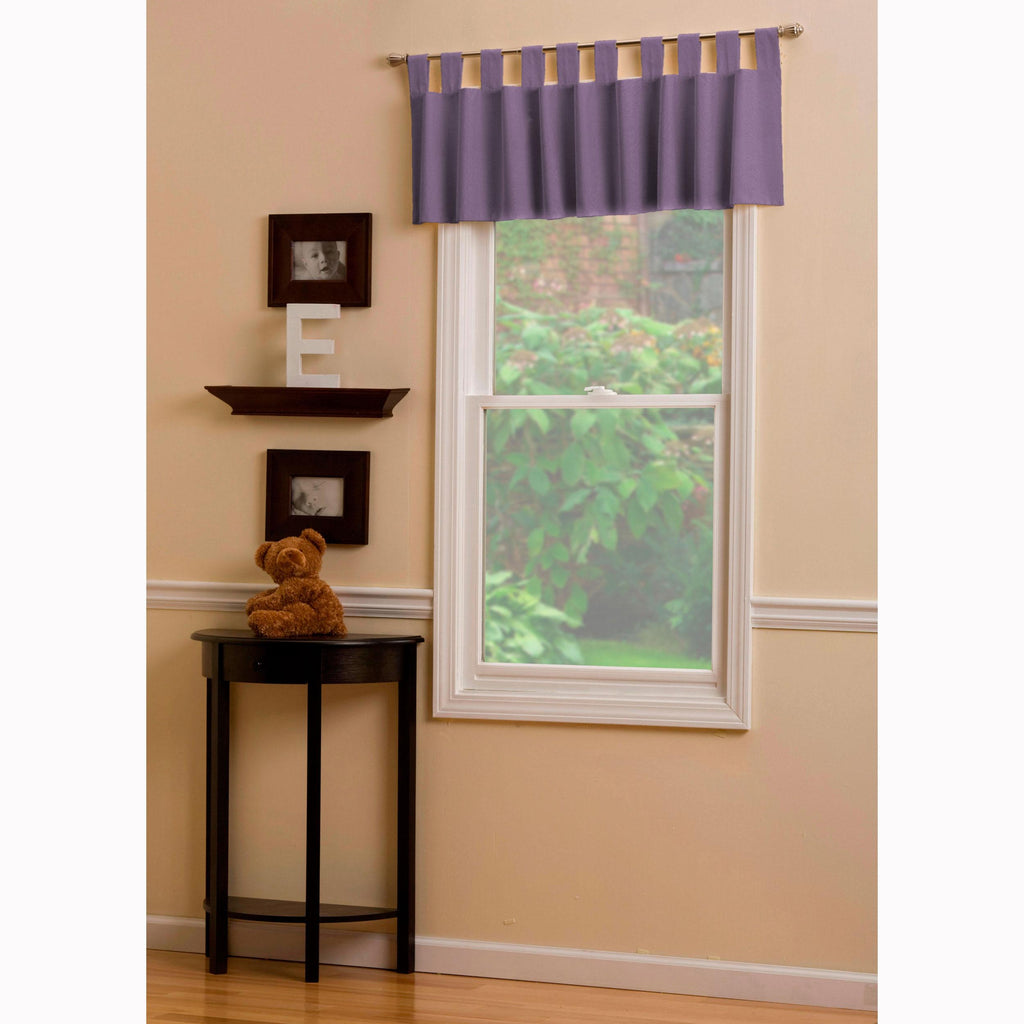 Product image for Solid Aubergine Purple Window Valance Tab-Top