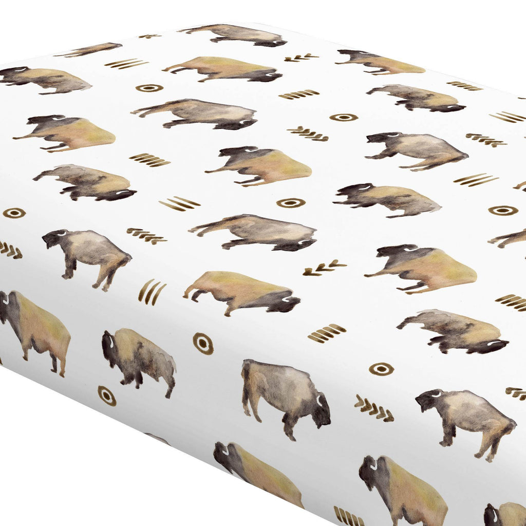 Product image for Watercolor Buffalo Crib Sheet