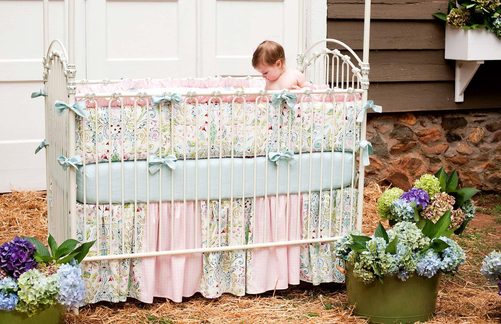 Product image for Love Bird Damask Crib Bumper with Ruffle