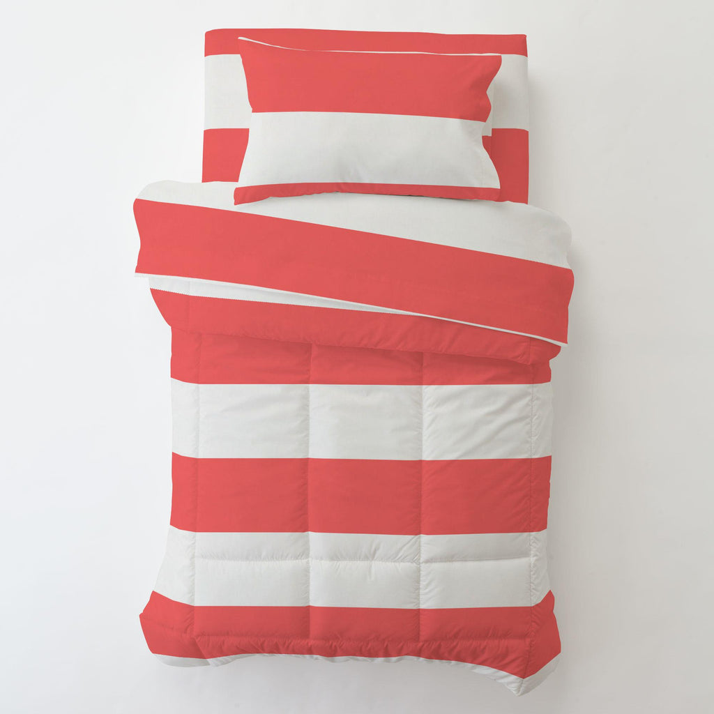 Product image for Coral Horizontal Stripe Toddler Sheet Bottom Fitted