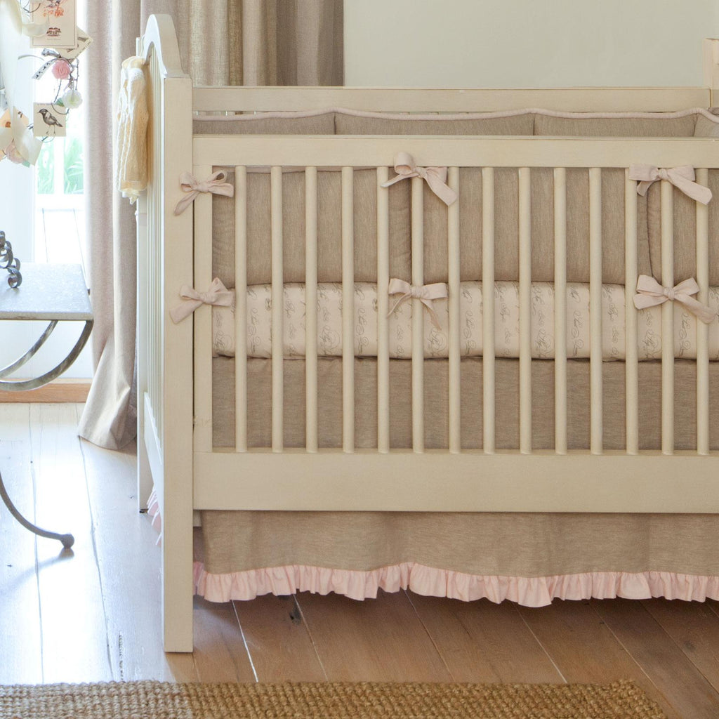 Product image for Light Pink and Flax Linen Crib Comforter with Piping